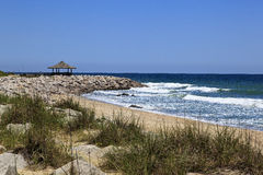 North Carolina Beach. Kure Beach at the Historic Site of Fort Fisher in North Carolina with Picnic Shelter royalty free stock photo