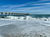 North Carolina beach. Waves at Wrightsville stock photography