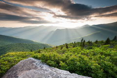 North Carolina Blue Ridge Mountains Spectacular Sunset Light Beams Stock Photos