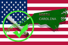 North Carolina on cannabis background. Drug policy. Legalization of marijuana on USA flag, Royalty Free Stock Image