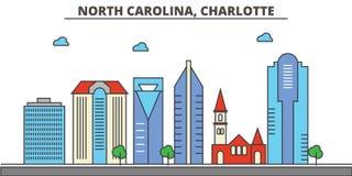 North Carolina, Charlotte.City skyline  Royalty Free Stock Images