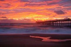 Free North Carolina Coastal Sunrise Avon Fishing Pier Royalty Free Stock Photos - 163642368