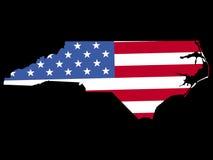 North Carolina con la bandierina Fotografie Stock Libere da Diritti