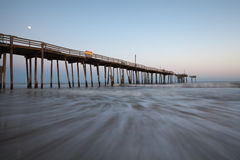 North Carolina Fishing Pier OBX Moonlight Stock Image