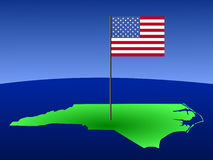 North Carolina with flag Stock Photography