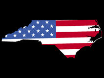 North Carolina with flag. Map of the State of North Carolina with American flag Royalty Free Stock Photos