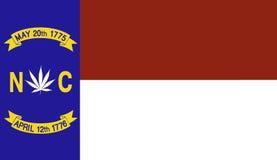 North Carolina flag with marijuana leaf Stock Image