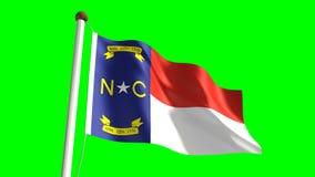 North Carolina flag. Seamless  green screen stock video footage