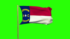 North carolina flag waving in the wind. Green stock footage