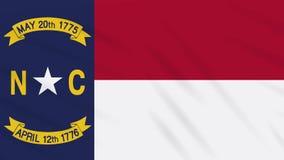 North Carolina-Flagge flattert im Wind, Schleife für Hintergrund stock abbildung