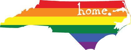 North Carolina gay pride vector state sign. LGBT community pride vector U.S. state decal: easy-edit layered vector EPS10 file scalable to any size without royalty free illustration