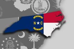 North Carolina map and flag. Illustration of the State of North Carolina silhouette map and flag. Its a JPG image Stock Photography