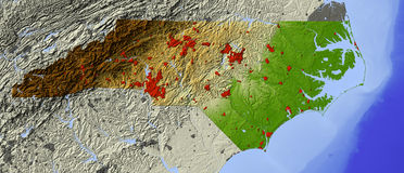 North Carolina, mapa de relevo Ilustração Stock