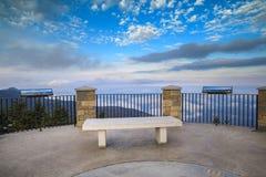 North Carolina Mt. Mitchell Observation Deck Bench Stock Image