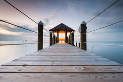 North Carolina OBX Elevated Boardwalk and Gazebo over Pamlico Sound Stock Image