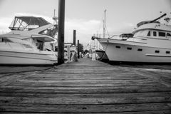A tired wooden dock at a marina. North Carolina - power boats and sailboats tie up to wooden pier at a city marina royalty free stock image