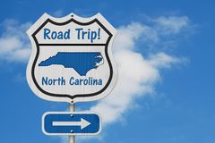 North Carolina Road Trip Highway Sign stock images