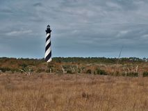 North Carolina`s Cape Hatteras Lighthouse. At 198 feet tall, Cape Hatteras Lighthouse is the tallest brick lighthouse in North America and a climb of 268 steps Royalty Free Stock Photography