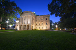 North Carolina State Capitol. Beautiful pre-dawn shot of the West Portico section of the N.C. State Capitol building.  Well lit by the ample lighting with the Royalty Free Stock Image