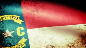 North Carolina State Flag Waving, grunge look stock video footage