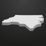 North Carolina State map in gray on a black background 3d Stock Image