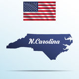 North Carolina state with shadow with USA waving flag Stock Images