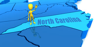 North Carolina state yellow stick figure Royalty Free Stock Images