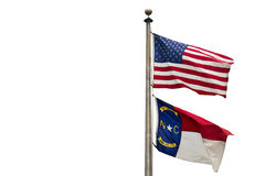 North Carolina and US flag. The flag of North Carolina State along with US flag on pure white background Royalty Free Stock Photo