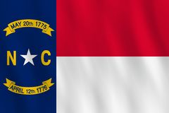 North Carolina US state flag with waving effect, official proportion.  vector illustration