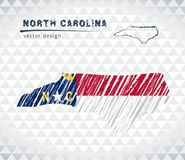 North Carolina vector map with flag inside isolated on a white background. Sketch chalk hand drawn illustration. Vector sketch map of North Carolina with flag stock illustration
