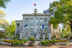 North Carolina Veterans Monument at the Raleigh Capitol Building stock photos