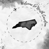 North Carolina watercolor us state map in black. North Carolina watercolor us state map in black colors. Welcome to North Carolina poster with airplane trace Royalty Free Stock Image