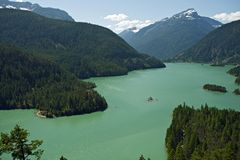 North Cascades Diablo Lake. North Cascades National Park, Washington State, U.S.A. - Diablo Lake. Photo Taken From Diablo Lake Overview. North Cascades Photo Royalty Free Stock Photo