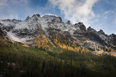 North Cascades Mountains. Some spectacular scenery seen from Highway 20, also called the North Cascades Highway, during a lovely autumn day. Snow capped peaks Royalty Free Stock Image
