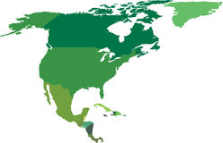 North and Central America. Map Stock Images