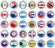 North and Central America's flags Stock Photography