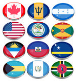 North and Central America's flags Royalty Free Stock Photo