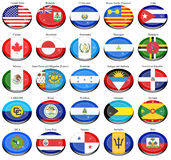 North and Central America's flags Royalty Free Stock Images
