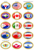 North and Central America's flags Stock Photos