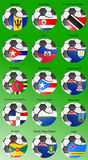 North and Central America`s flags with soccer ball Stock Photos