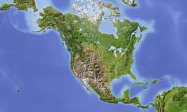North and Central America, shaded relief map Stock Image