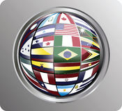 North, central and south america flags Royalty Free Stock Photo