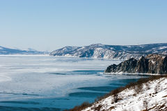 North coast sea of Okhotsk, nearly Magadan, winter. The Sea of Okhotsk is a marginal sea of the western Pacific Ocean, lying between the Kamchatka Peninsula on Royalty Free Stock Photo