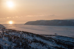 North coast sea of Okhotsk, sunset Stock Image