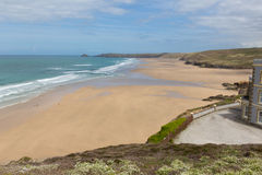 North Cornwall best beach Perranporth England UK. Perranporth beach and coast North Cornwall England UK one of the best Cornish beaches with yellow gorse stock image