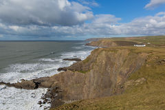 North Cornwall coast at Northcott Mouth from south west coast path England UK near Bude Royalty Free Stock Photography