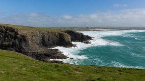 North Cornwall coast view from Trevose Head south in direction of Constantine Bay and Newquay Stock Photos