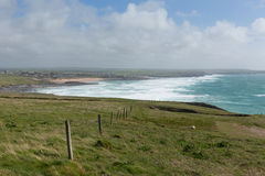 North Cornwall coastal view from Trevose Head south in direction of Constantine Bay and Newquay Royalty Free Stock Photo