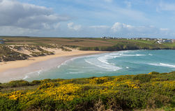 North Cornwall Crantock bay and beach England UK near Newquay with waves in spring Royalty Free Stock Photo