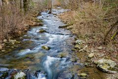 North Creek, Botetourt County, Virginia, USA. North Creek is a very popular trout fishing stream located in the Blue Ridge Mountains of the Jefferson National royalty free stock image